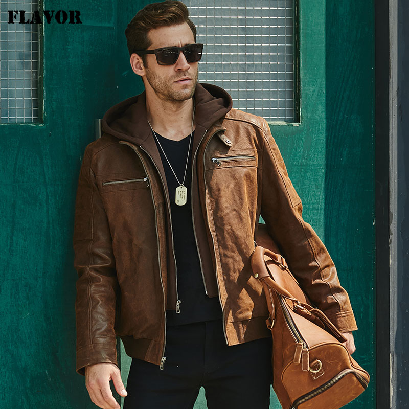 New Men s Leather Jacket Brown Jacket Made Of Genuine Leather With A Removable Hood Warm New Men's Leather Jacket, Brown Jacket Made Of Genuine Leather With A Removable Hood, Warm Leather Jacket For Men For The Winter
