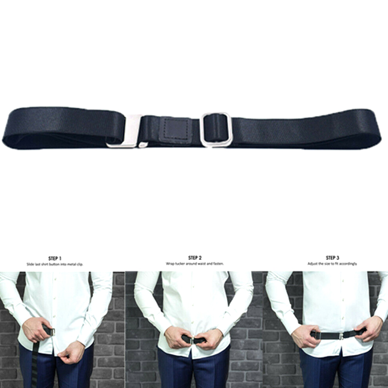 Fashion Shirt Holder Adjustable Near Shirt Stay Best Tuck It Belt For Women Men Work Interview Black Color 120cm широкий пояс