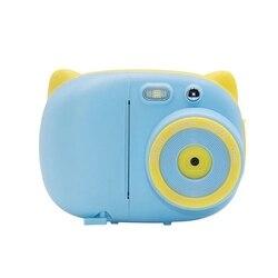 AAAE Top-kreatywny uroczy bajka dzieci aparat natychmiastowy z nadrukowanym zdjęciem aparat cyfrowy małe lustrzanka 3 rolki aparat papieru niebieski + 32G