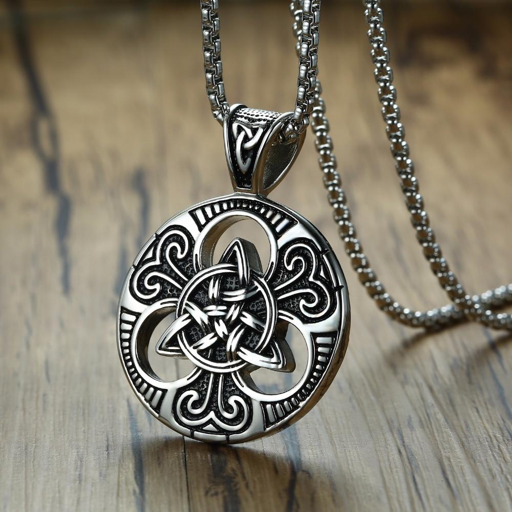 ZORCVENS Vintage Gothic Cross Necklace Triskele Scottish Irish Triangle Knot Antique Punk Pendant Necklace