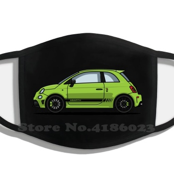 Abarth 595 Green Half Face For Men Women Ladies Diy Mouth Masks Abarth 500 Fiat Green Car Italian 595 Automotive Italy Sports image