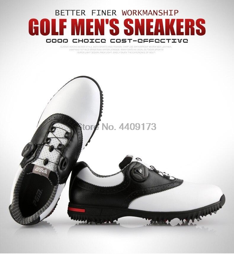 Pgm masculino couro genuíno sapatos de golfe