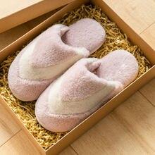 Winter warm home slippers women fur indoor cotton ladies couples