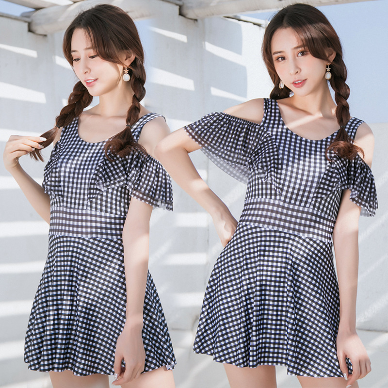 Currently Available Wholesale 2018 New Style Bathing Suit Women's Dress-Conservative Boxer Slimming-Large Size Hot Springs Swimw