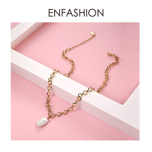Image 5 - Enfashion boho concha corrente colar feminino ouro cor instrução natural mãe de pérola colares de aço inoxidável jóias p193025