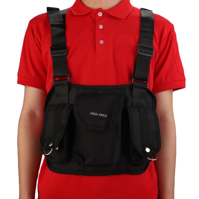 Reflective Chest Rig Bag Hunting Vest Harness Front Pack Pouch Holster Vest Rig Hip Hop Streetwear Functional Chest Bag