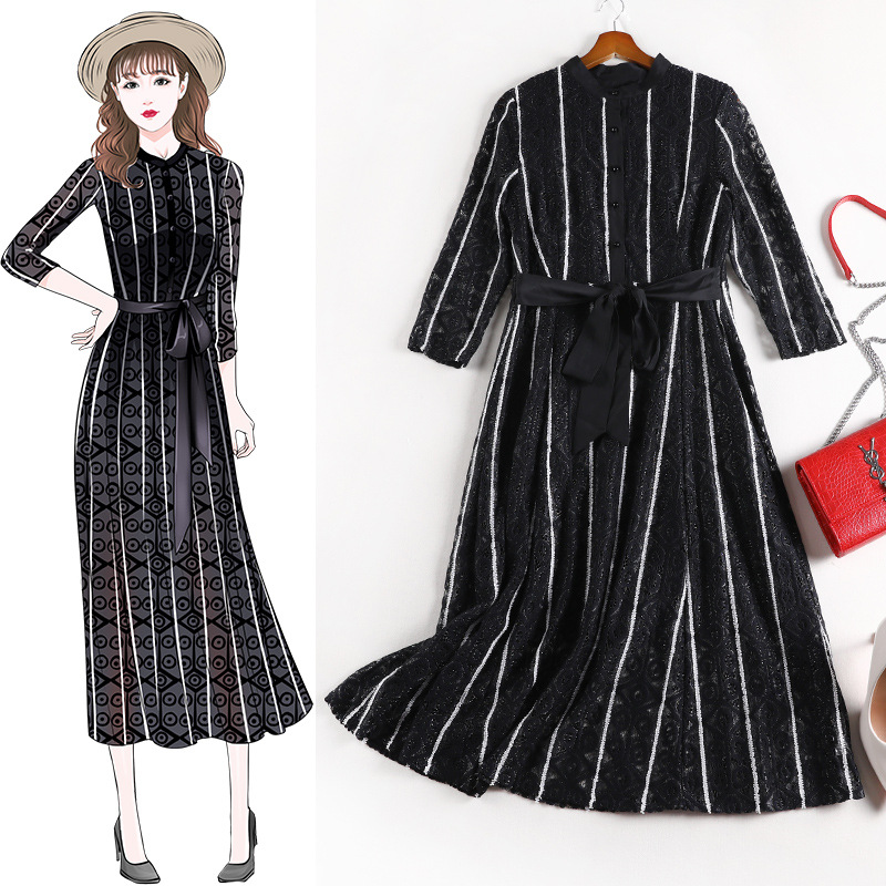 2020 Spring Fashion women's elegant Plus size Lace dress Chic high quality Belt stripe dress B679