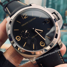 Watch 44mm silver stainless steel case seagull automatic movement military leather strap date a3