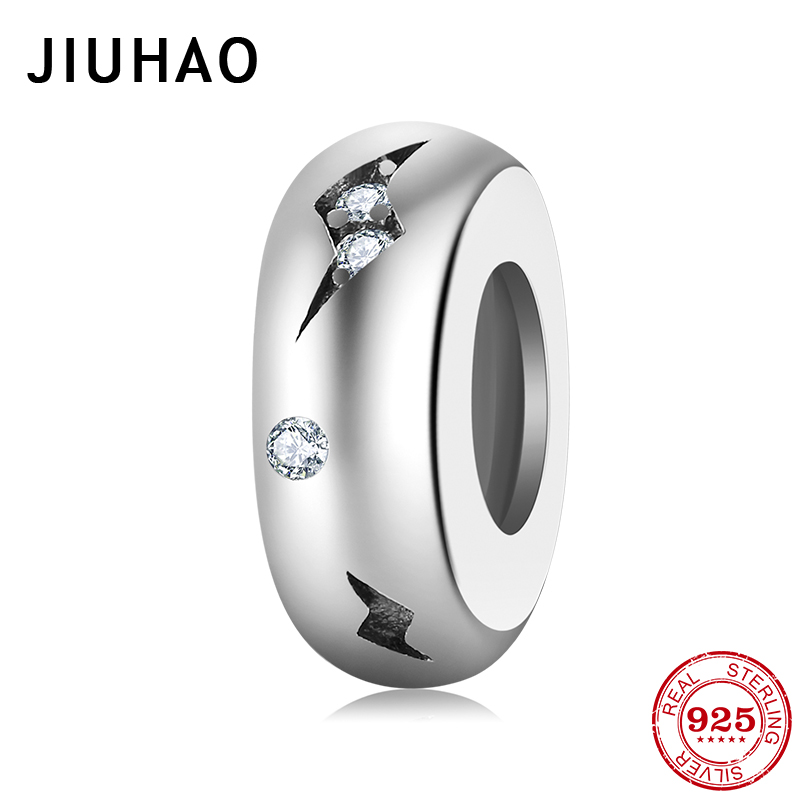 Authentic 925 Sterling Silver Fashion Lightning Women Charms Spacer Beads Fit Original Pandora Charm Bracelet Jewelry Making