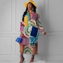 Платье с цветочным принтом, женское повседневное офисное платье, весенне-осенние платья, элегантное платье с длинными рукавами и принтом в африканском стиле, осеннее платье-рубашка