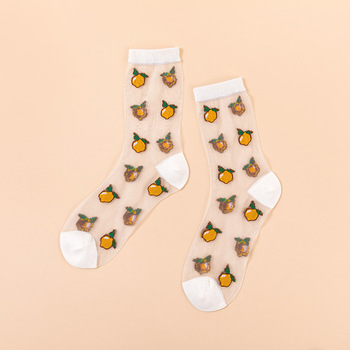 Novelty Harajuku New Product Crystal Silk Tide Socks Funny Sunflowers Vines Flowers Happy Women Socks Casual High Quality Sox 13