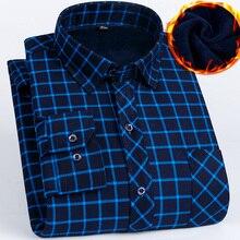 2019 겨울 플러스 크기 5xl 6xl 7xl 8xl 따뜻한 격자 무늬 비즈니스 캐주얼 두꺼운 셔츠 남자 fluff 패션 열 아버지 옷 유지