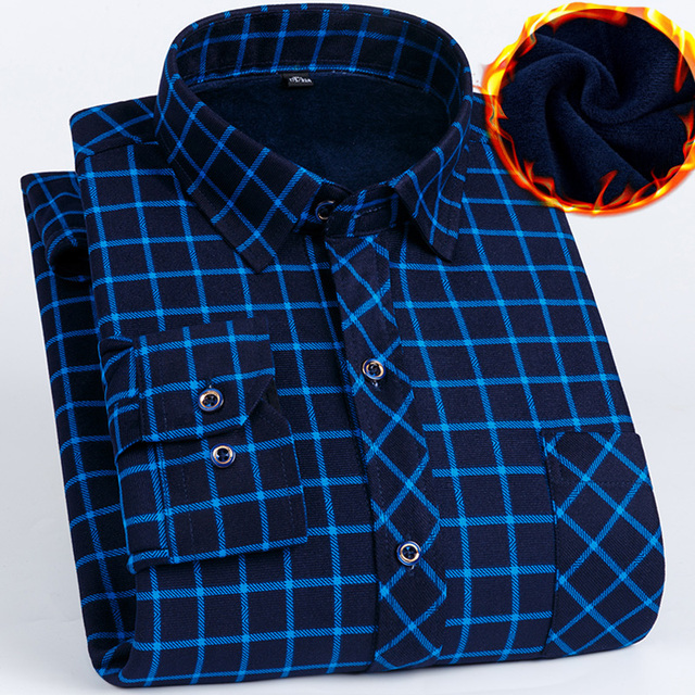 2019 Inverno Plus size 5XL 6XL 7XL 8XL Tenere In Caldo Plaid di Affari Casual Camicia di Spessore Degli Uomini Con Fluff Moda termico Padre Vestiti