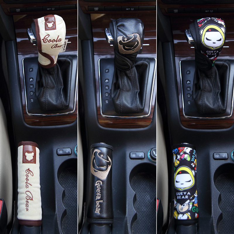 Gear Cover Handbrake Case Car Interior Trim Two-Piece Case Handlebar Cover Car Decoration Set Manual Automatic Transmission Case