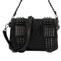 Women Black Leather Messenger Bags Fashion Vintage Messenger Cool Skull Rivets Shoulder Bags