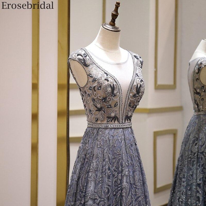 Image 4 - Erosebridal Luxury Beads Evening Dress Long See Through Body A Line Prom Dress 2020 Small Train Unique Neck Design Zipper BackEvening Dresses   -