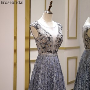 Image 4 - Erosebridal Luxury Beads Evening Dress Long See Through Body A Line Prom Dress 2020 Small Train Unique Neck Design Zipper Back