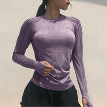 Vnazvnasi Women Long Sleeve Yoga Tops Fitness Running T Shirts Gym Wear Sports Wear Female Yoga Shirt Pure Color Sports Clothes(China)