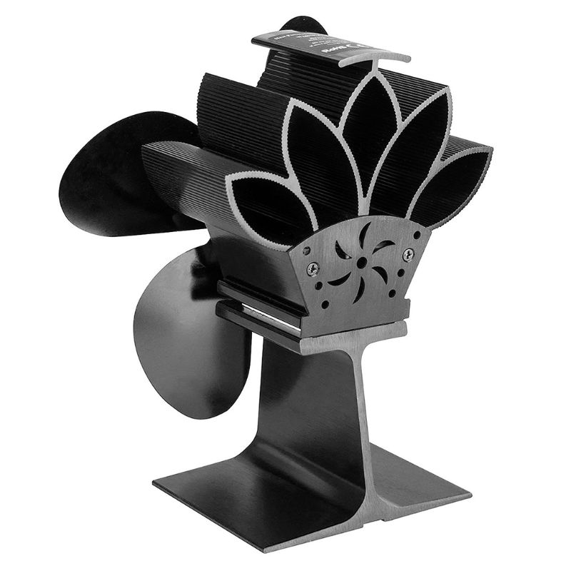 4 Blades Heat Powered Fireplace Stove Fan Aluminum Silent Eco-Friendly For Wood