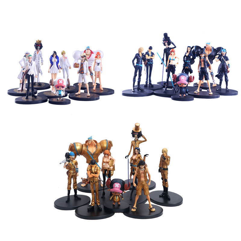 Anime 9 pièces/ensemble une pièce film or sanji luffy chopper zoro nico nami robin usopp brook franky PVC figurine jouets poupée cadeaux