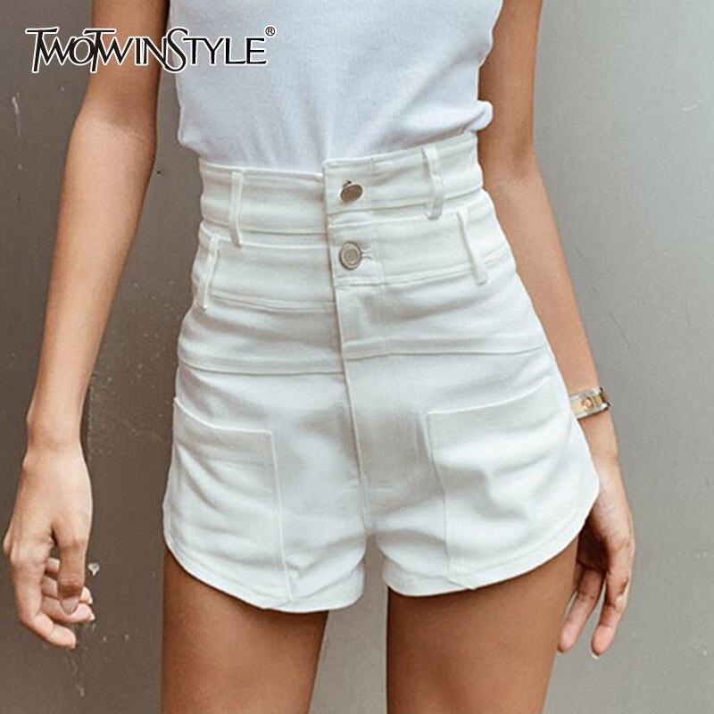TWOTWINSTYLE Sexy Denim Women Shorts High Waist Vintage Asymmetrical Short Pants For Female Fashion Clothing Summer 2020 Tide