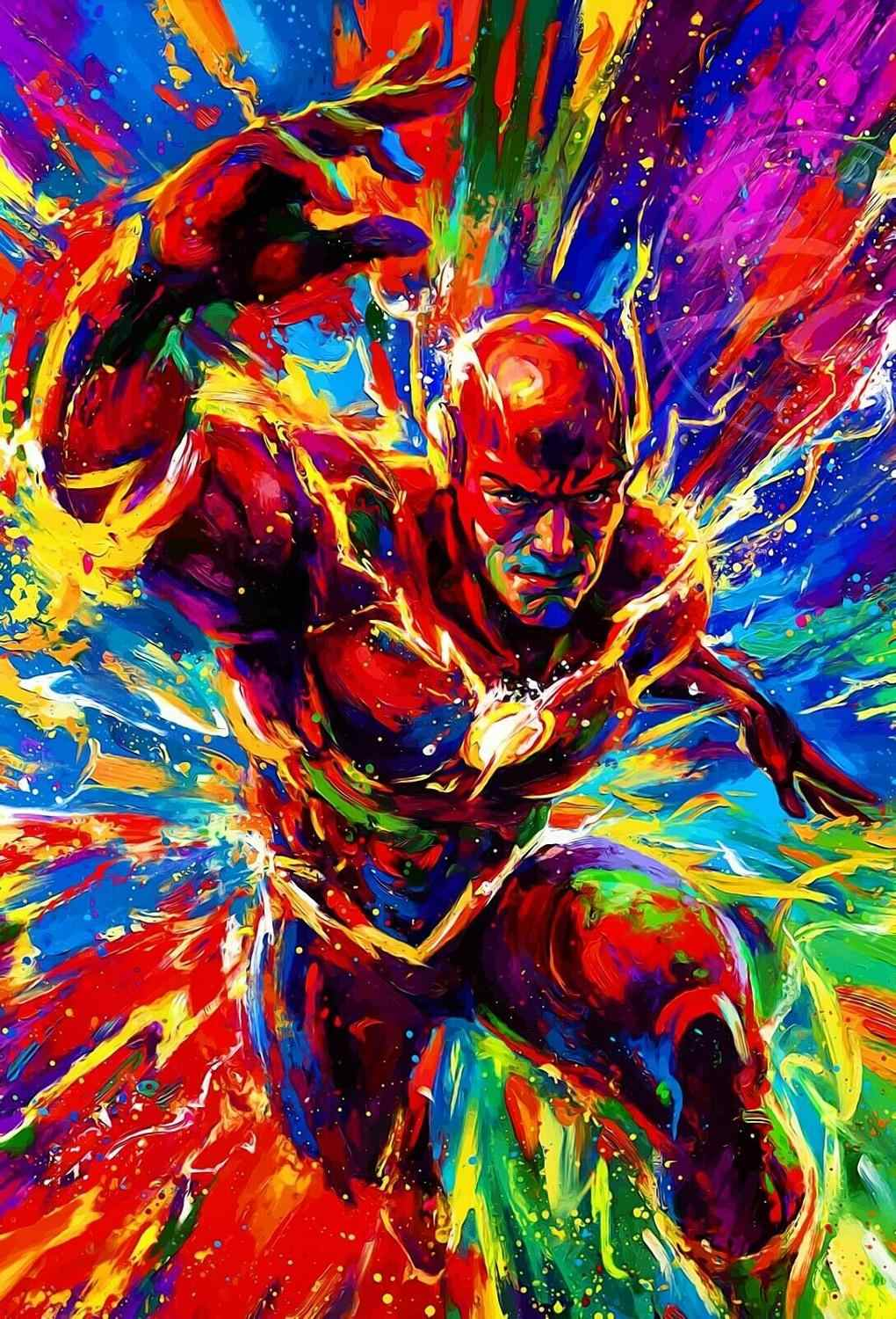 The Flash Poster Fan Art Justice League Dc Comics Oil Paintings Canvas Art Prints Wall Art For Living Room Bedroom Decor Painting Calligraphy Aliexpress