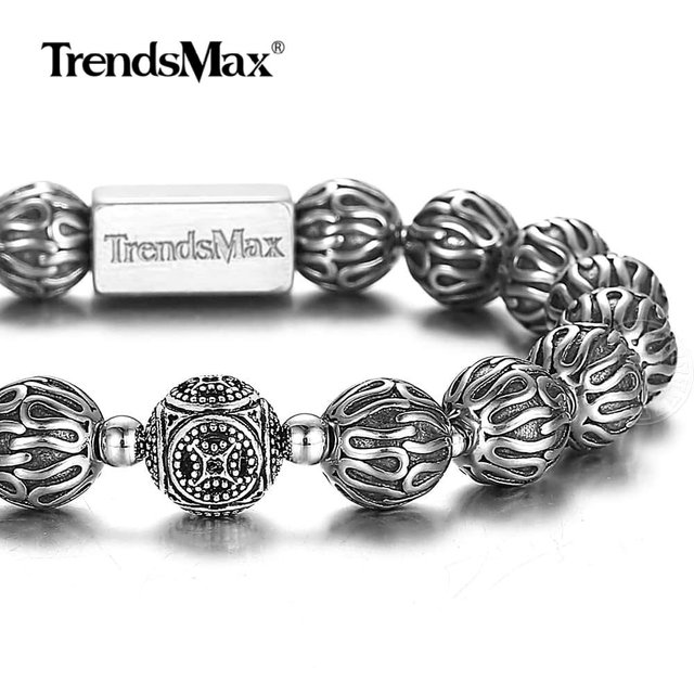 Trendsmax 10mm lüks 925 ayar gümüş boncuk bilezik erkekler kadınlar için streç enerji bilezik erkek hediye TBB021