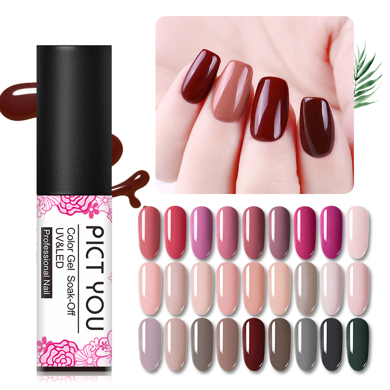PICT YOU 5ml Gel Nail Polish Vernis Semi Permanent Soak Off UV Gel Nail Polish Long Lasting Nail Art Gel Polish 119 Colors