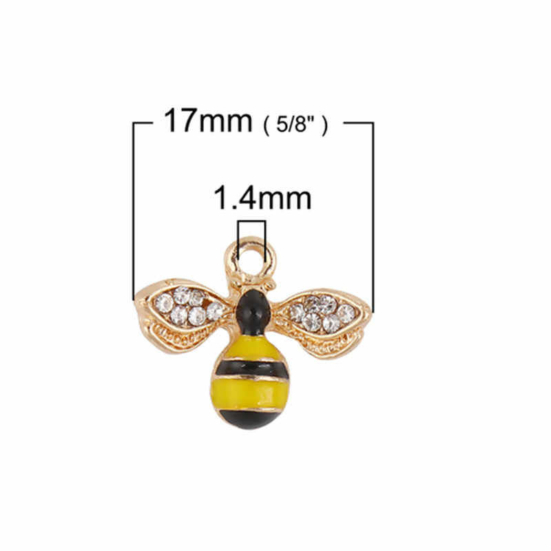 DoreenBeads โลหะผสมสังกะสี Charms Bee สัตว์ทองสีเหลือง Rhinestone จี้เครื่องประดับ 17 มม.x 14 มม.,2 PCS