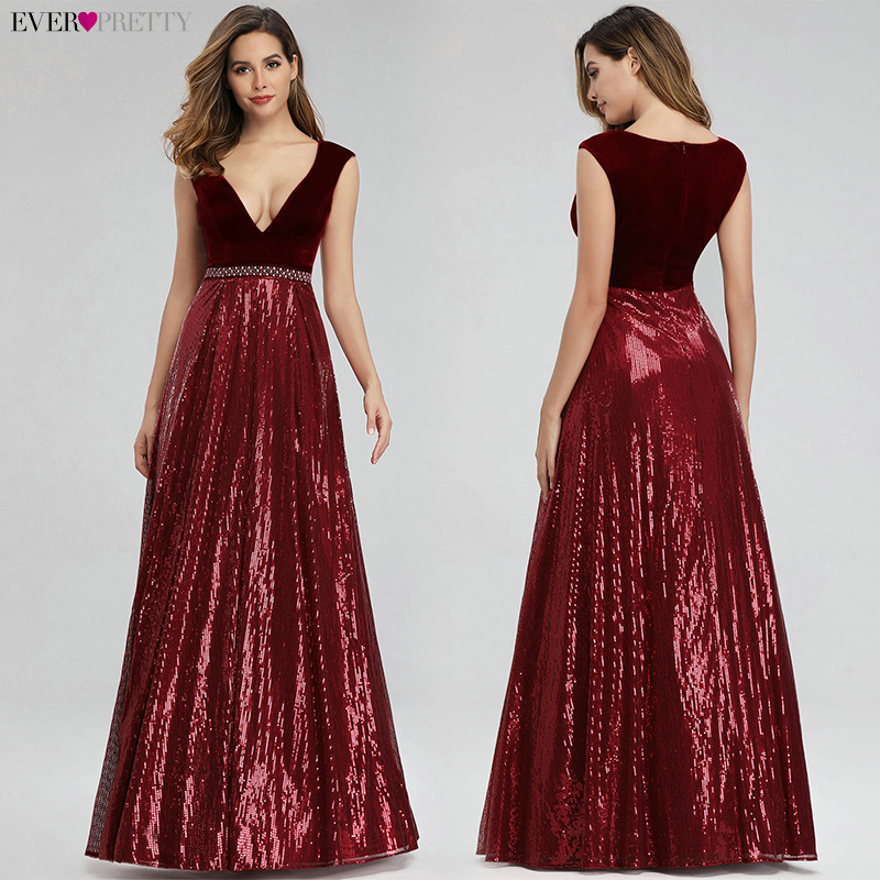 Image 2 - Vestidos De Festa Ever Pretty Elegant A Line V Neck Velvet Sparkly Beaded Long Formal Party Dresses 2019 Sexy Prom Dresses-in Prom Dresses from Weddings & Events