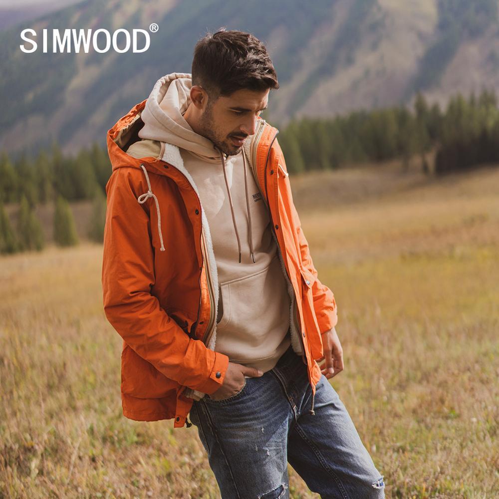 Simwood 2019 outono inverno novo velo interior colete removível casacos moda masculina quente longo jaquetas com capuz plus size outerwear 980606