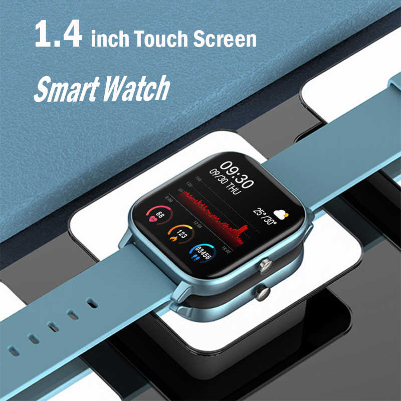 Inteligentny zegarek mężczyźni P8 IP67 wodoodporna opaska monitorująca aktywność fizyczną pulsometr sportowy w pełni dotykowy Smartwatch kobiety dla Amazfit Gts Xiaomi