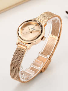 Watches Rhinestone Quartz Sky Womens High-Quality Ladies Luxury Ultrathin for Wife Mesh-Belt
