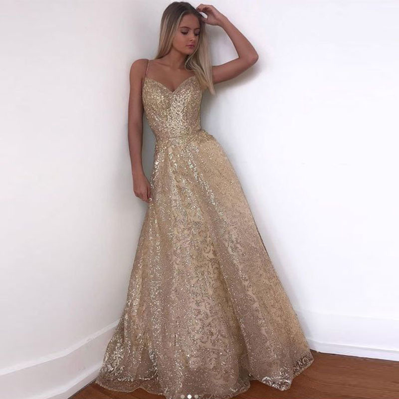 Gorgeous Gold Sequined Prom Dresses 2019 Sparkle Sequin A-line Prom Gowns Sexy Backless Abiye Party Dress Robe De Soiree