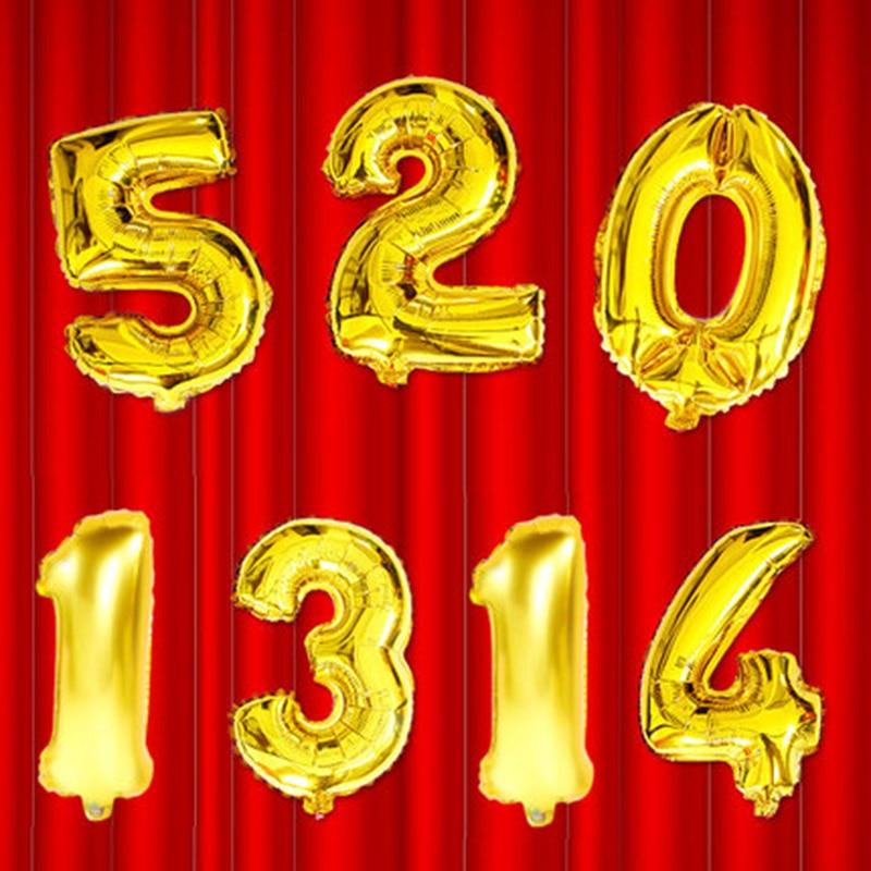 1 buc 16inch Gold Silver Number 0-9 baloane cu folie digitală - Produse pentru sărbători și petreceri - Fotografie 2