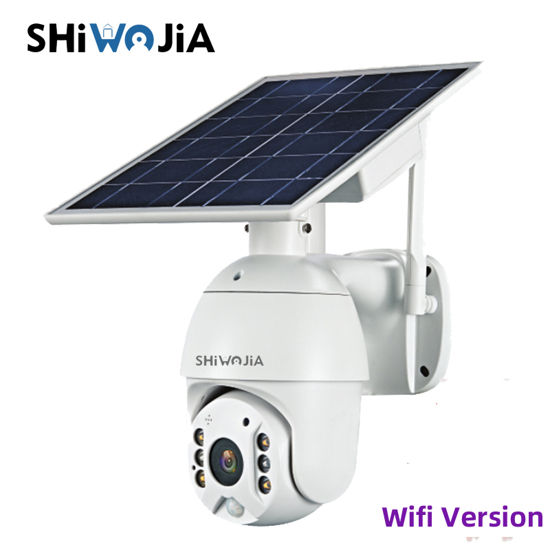 SHIWOJIA Wifi Version 1080P HD Solar Panel Outdoor Surveillance Waterproof CCTV Camera Smart Home Two-way Voice Intrusion Alarm