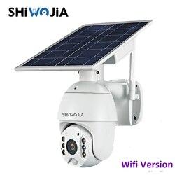 SHIWOJIA Wifi wersja 1080P HD Panel słoneczny nadzór zewnętrzny wodoodporna kamera CCTV inteligentny dom dwukierunkowy Alarm włamaniowy