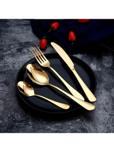 Gold Spoon Knife-Set Forks Gold-Cutlery-Knives-Sets Silverware Wedding-Tableware Travel