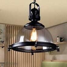 בציר ברזל LED אורות תליון לופט תעשייתי מטבח תליית מנורת עבור אוכל חדר עיצוב בית אור גופי זכוכית אהיל