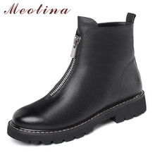 Meotina Winter Ankle Boots Women Natural Genuine Leather Thick Heel Short Boots Zipper Round Toe Shoes Ladies Autumn Size 34-39