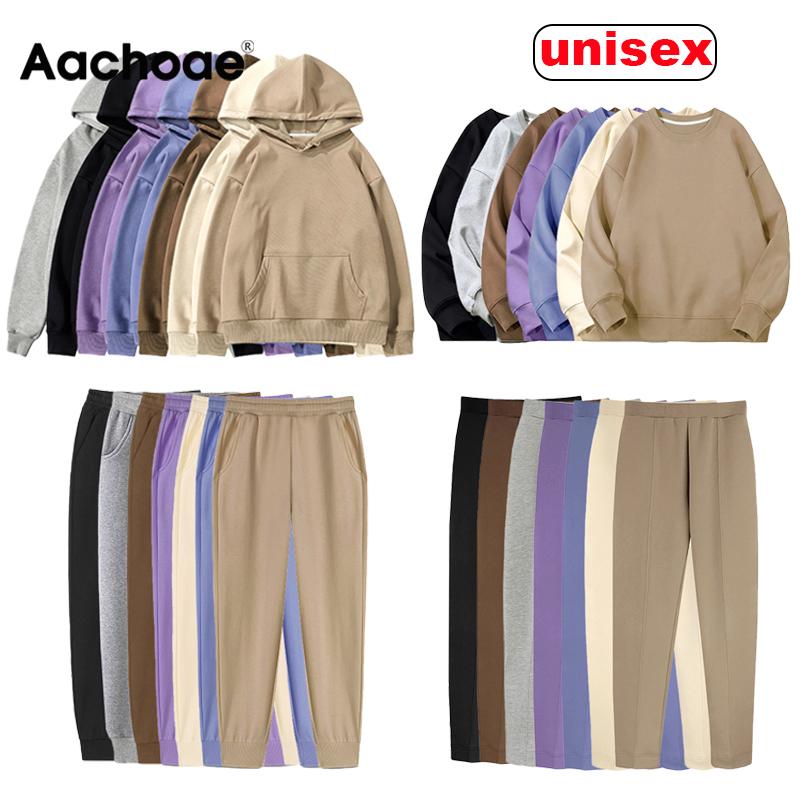 Aachoae Women Couple Hoodies Sweatshirt Fleece 100% Cotton Tracksuit Sports Sweatshirt 2020 Winter Japanese Casual Loose Jumper