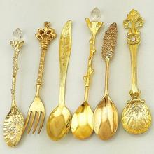 6 Pcs Royal Antique European Style Vintage Pomegranate Flower Carved Coffee Tea Scoop Tableware Cutlery Set