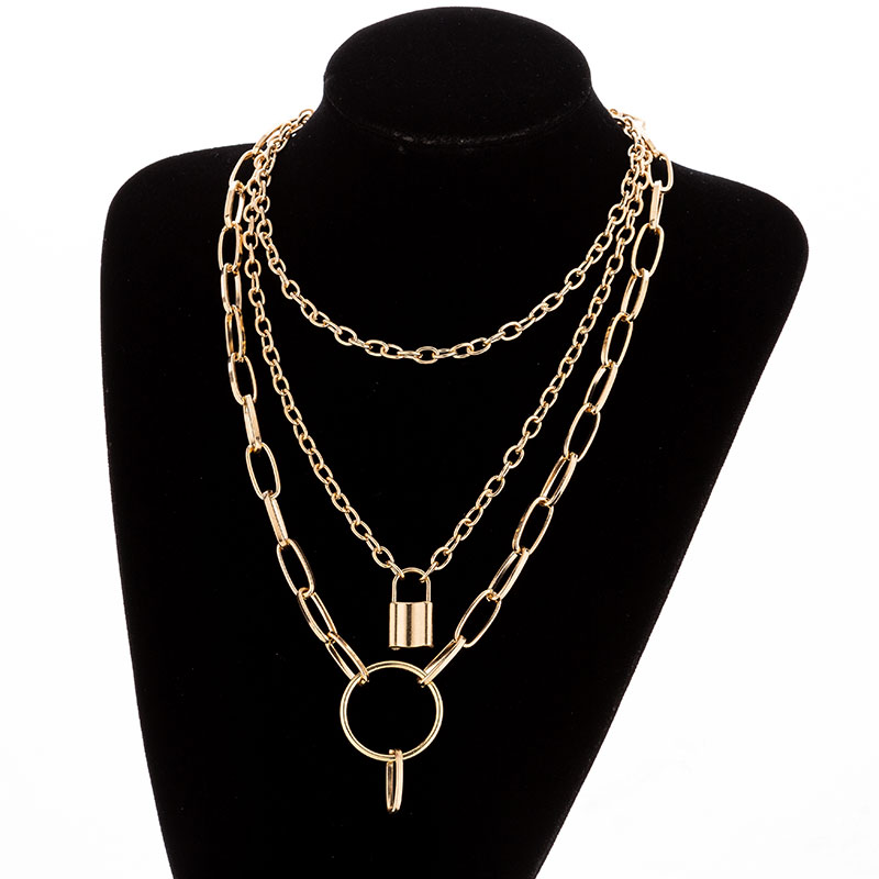 Hd0f8a6670acd4339a5b2c181247749281 - KMVEXO Multilayer Lock Chain Necklace Punk Padlock Key Pendant Necklace Women Girl Fashion Gothic Party Jewelry