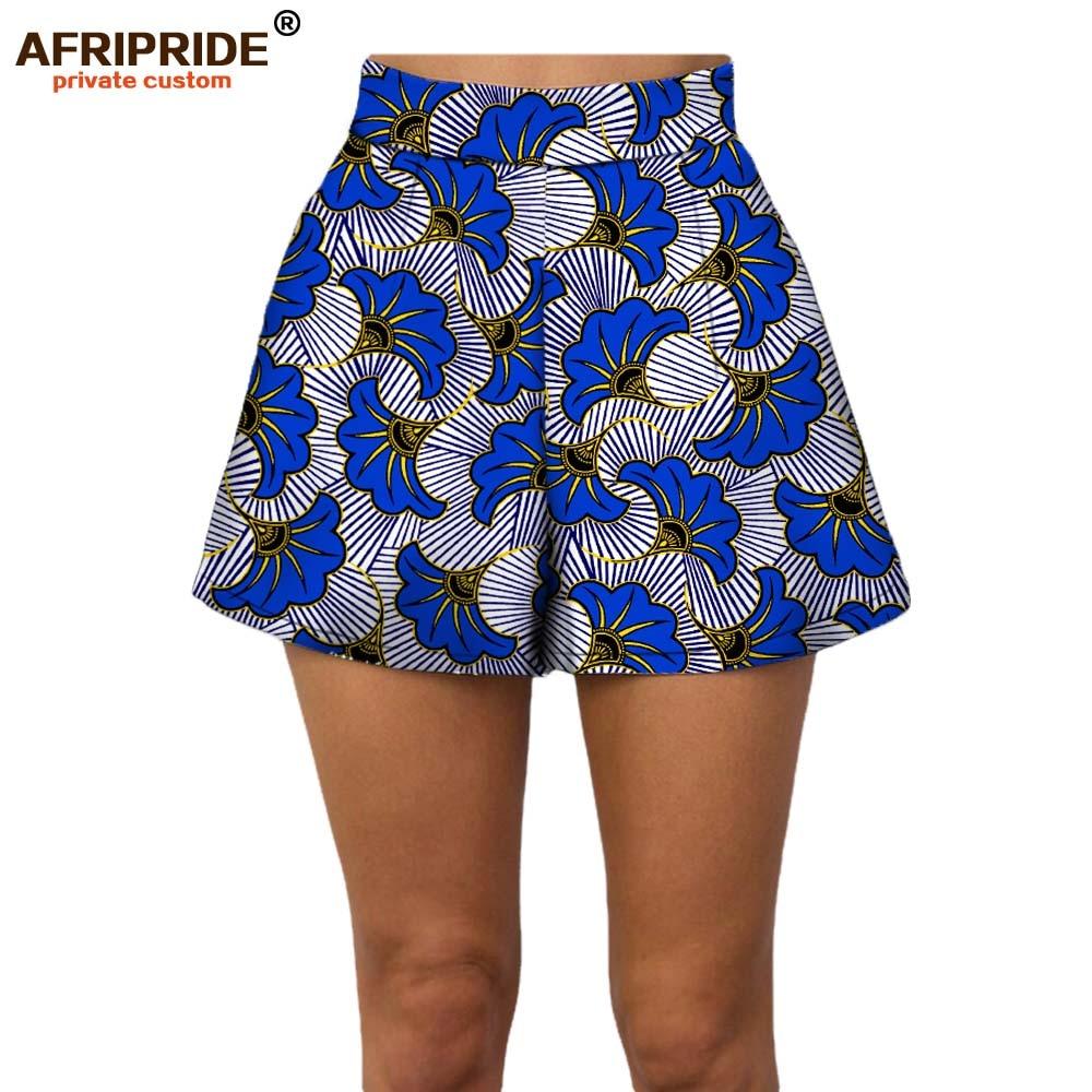 2019 Summer Women Beach Shorts AFRIPRIDE Private Custom Casual Short Pants 100% Cotton Batik Print Pattern African A722108