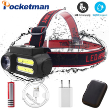 LED Headlamp Work Light Waterproof Portabl Work Headlight XPE+2* COB Head Light USB Rechargeable Head Lamp Best for Camping