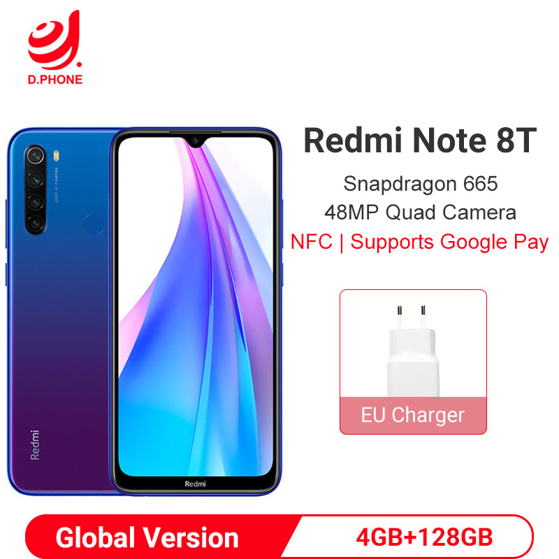 Xiaomi Redmi Note 8T 4GB 128GB Global Version Smartphone Snapdragon 665 48MP Quad Camera 6.3