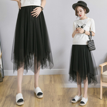 9810# Irregular Bottoms Black Gauze Maternity Skirts Adjustable Belly Skirts Clothes for Pregnant Women Summer Fashion Pregnancy elastic waist belly maternity long skirts bottoms clothes for pregnant women autumn charming knitted pregnancy skirts pregnant