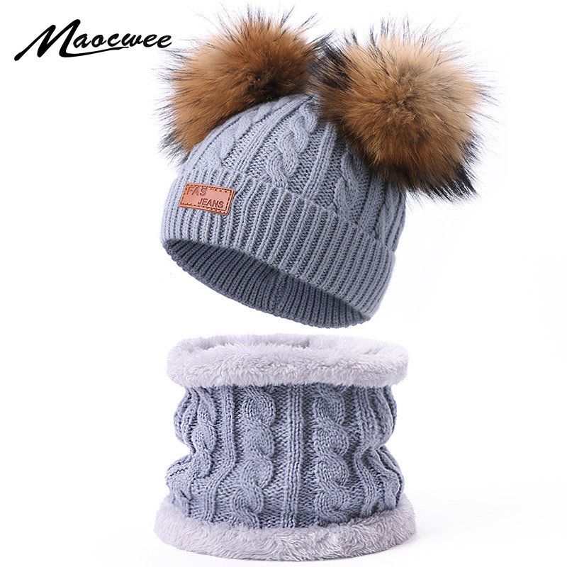 New Knitted Winter Hat Scarf Set With Double Real Fur Pompon For Children Warm Beanie Ring Scarf With Lining For Girls And Boys