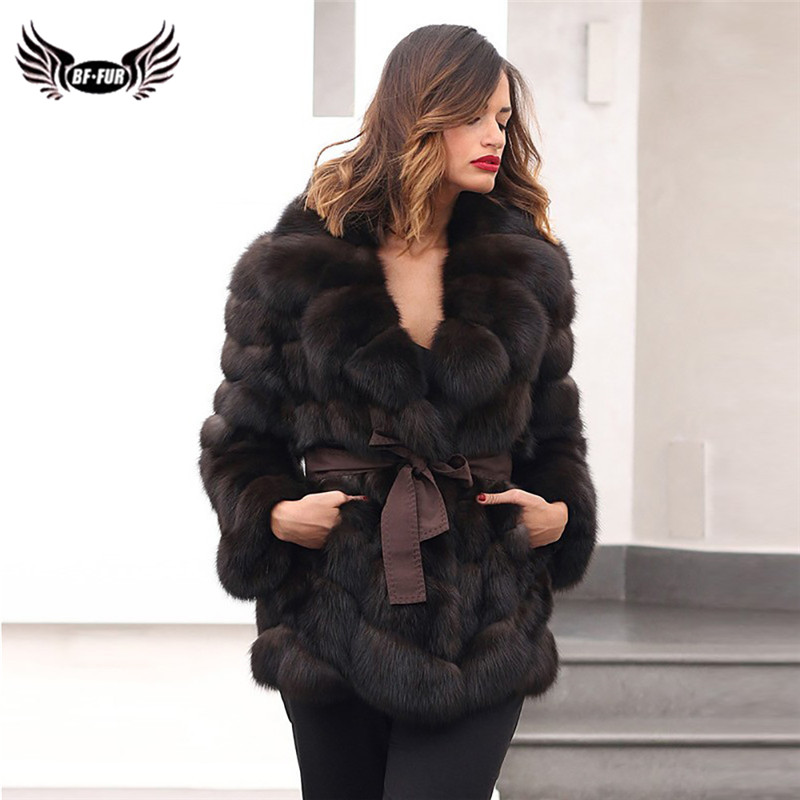 High Quality Women Real Fox Fur Coat With Lapel Collar Thick Warm Genuine Fox Fur Jacket With Belt Full Pelt Natural Fur Coats
