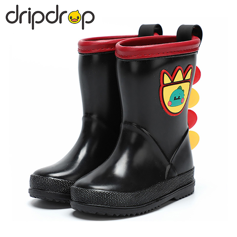 DRIPDROP Toddler Rain Boots Kids Waterproof Booties Girls Boys Water Shoes Dragon Tail Decoration